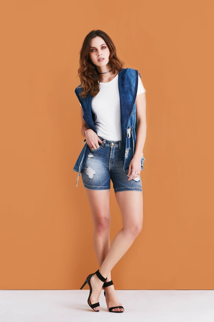 Shorts Jeans Denuncia Mid Rise Middle Azul