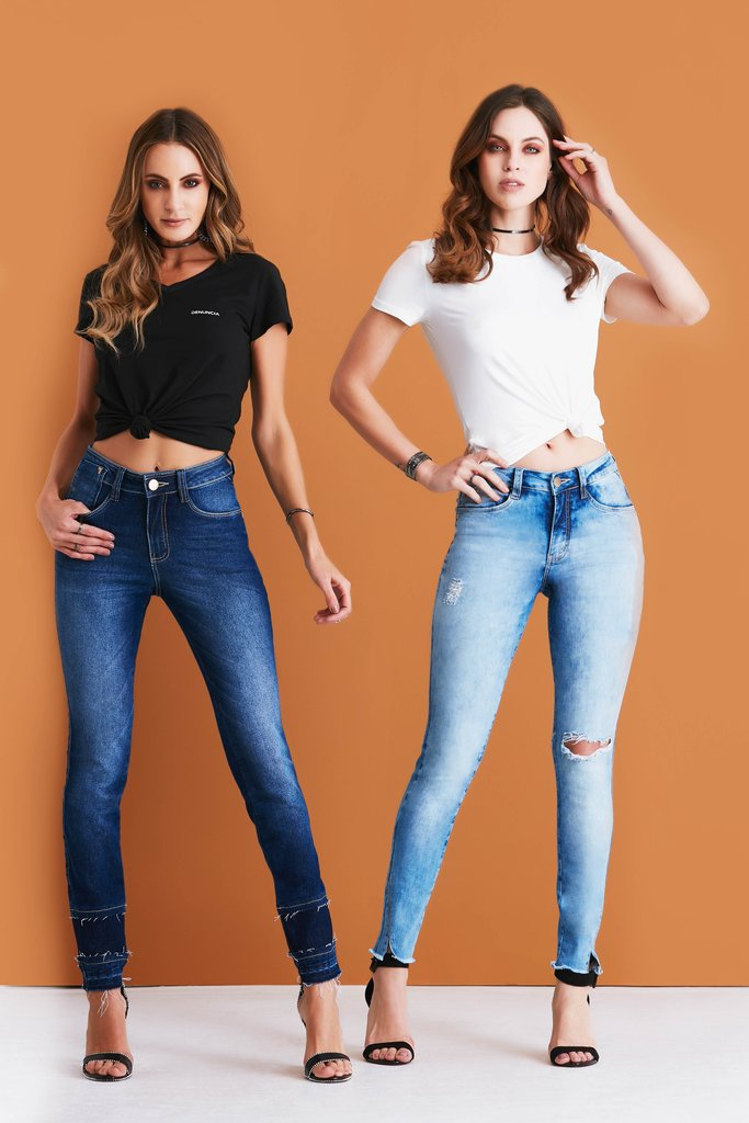 bc61d5cc8 Calça Jeans Denuncia Mid Rise Skinny Azul 206324048-00001