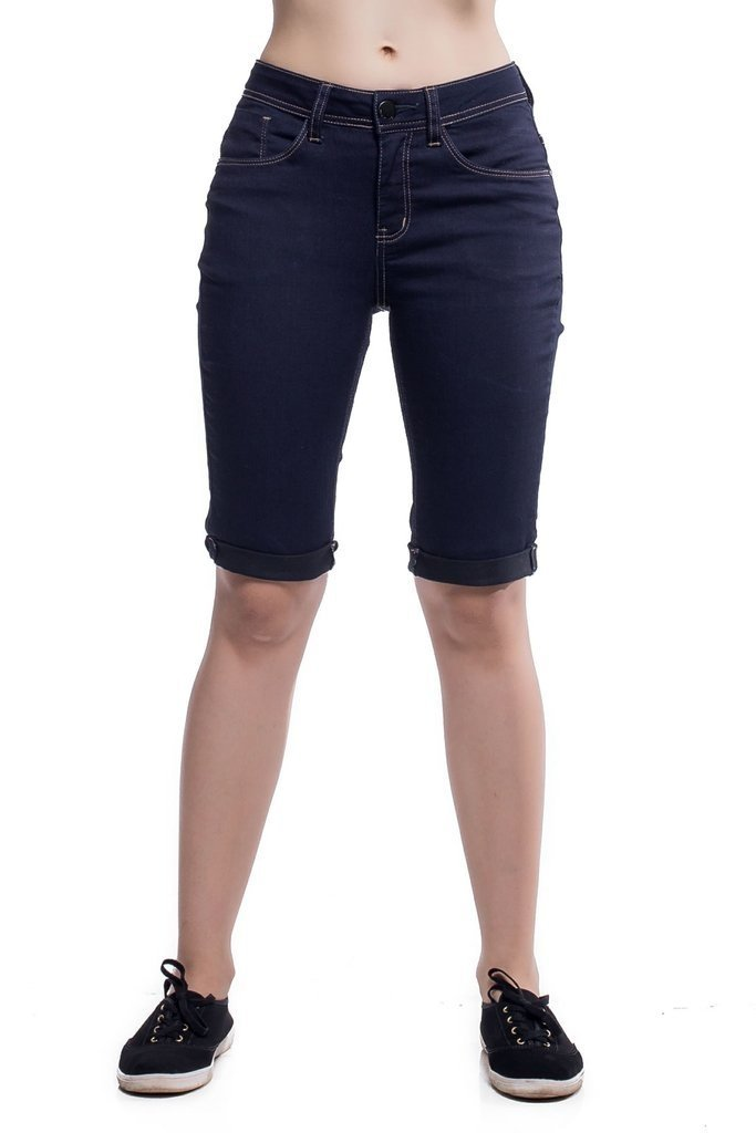 Bermuda Jeans Eventual Mid Rise Middle Plus Azul na internet