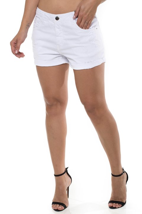 Shorts Jeans Mid Drop Eventual Branco