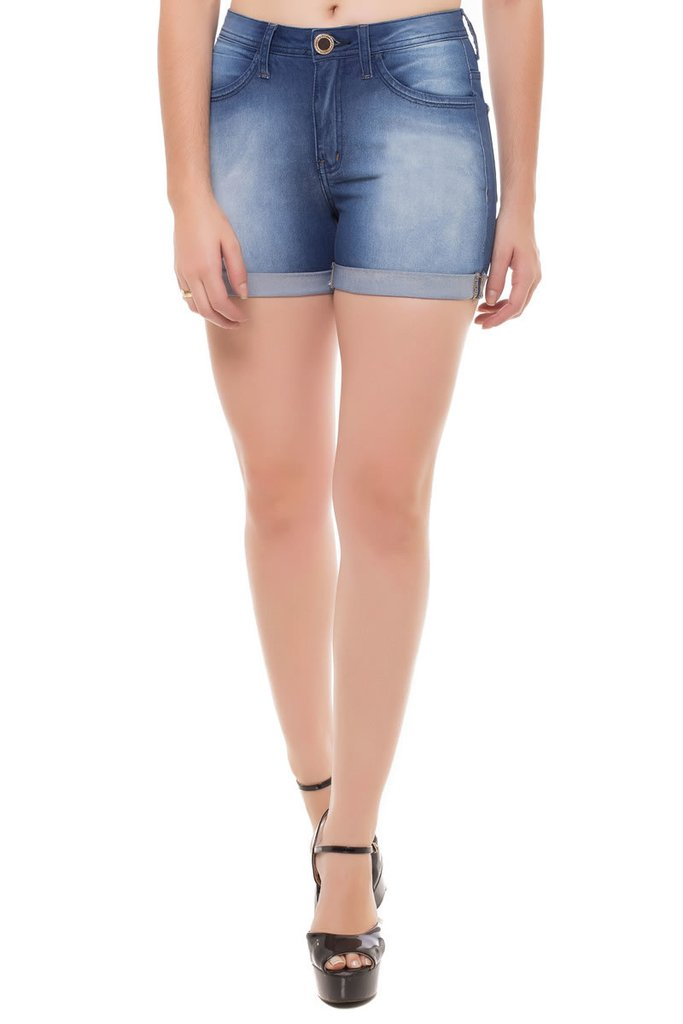 Shorts Jeans Mid Rise Angie Plus Eventual Azul