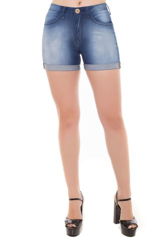 Shorts Jeans Mid Rise Angie Plus Eventual Azul - comprar online