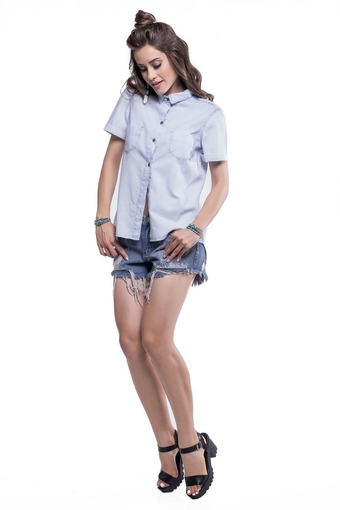 Shorts Jeans Jeans Eventual Angie Azul - loja online