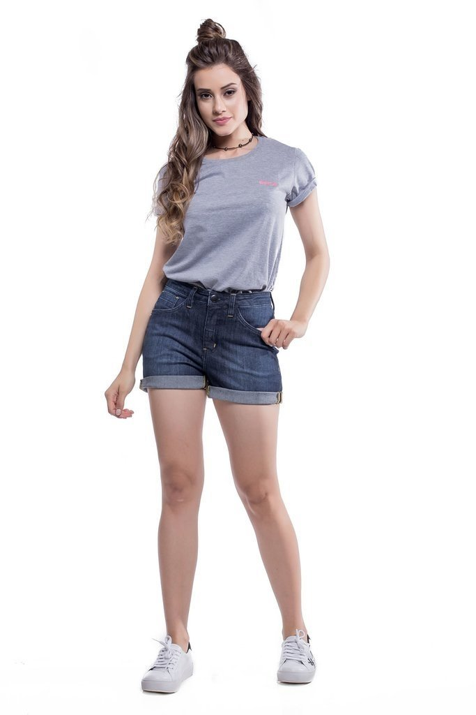 Shorts Jeans Jeans Eventual Angie Plus Mid Rise Azul - loja online