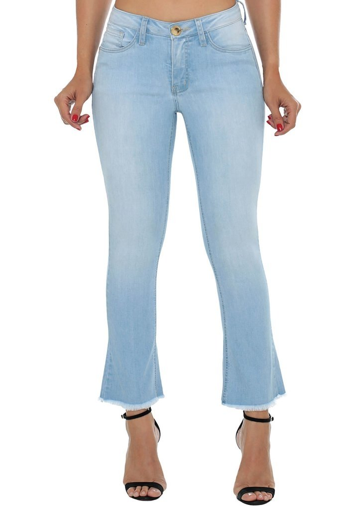 Calça Jeans Cigarrete Eventual Boot Cut Cropped Azul