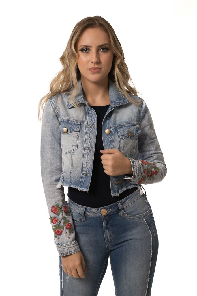 Jaqueta Jeans Eventual Cropped Azul