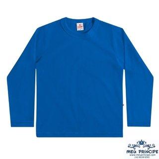 7d6e0a64b444c Camiseta Infantil Manga Longa Azul Lobo