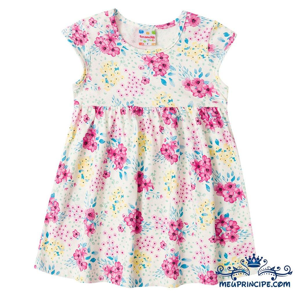 1f45ae5d92 Vestido Infantil Florido Marfim