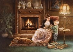 Dona Gelsinger: Serenity by the Fireplace, 1500p