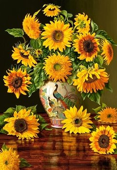 Sunflowers in a Peacock Vase, 1000p