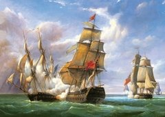 Combat between French Frigate and English Vessel, 3000p