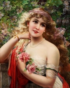 Emile Vernon: Young Lady with Rose, 1000p