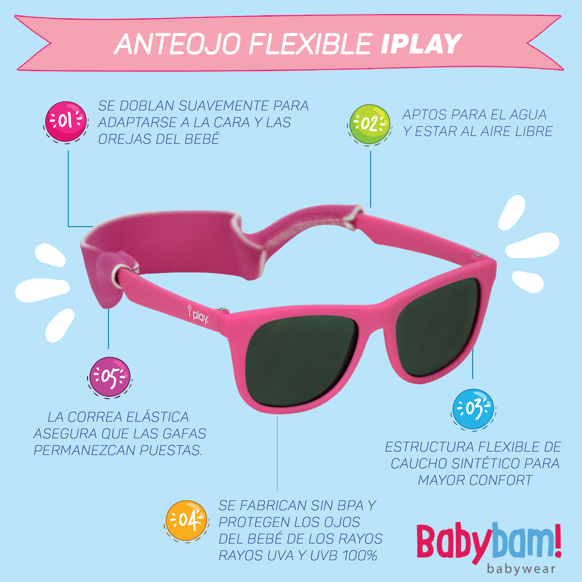 ef9ca7736cd ANTEOJO FLEXIBLE IPLAY ROSA - Comprar en Babybam