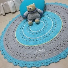 Tapete de crochê azul tyfane e cinza - 1 metro