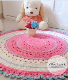 Tapete de crochê redondo rosa off white e azul - Maria Fernanda
