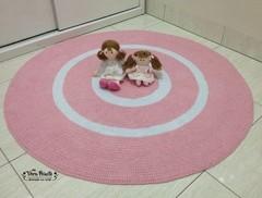 Tapete de crochê redondo rosa e branco - Baby Julia