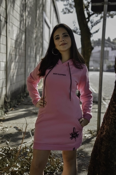 Moletom Riot long size sweatshirt rosa