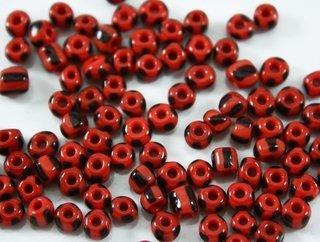 Miçanga - Vermelha Rajada De Preto - Porcelana - 70gr - 6/0