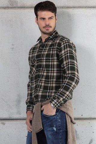 ddb15a7764 Camisa Linho Xadrez Slim fit Bolso Único