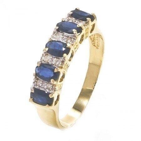 a3dad7f3af074 Meia Aliança Em Ouro 18k Com Safira E Diamantes - Cwb Joias Modelo  JC00009