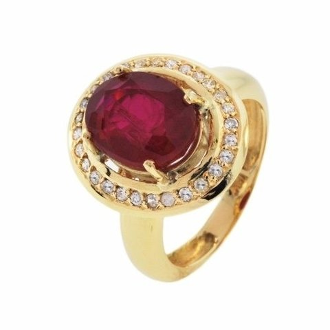 79327a709f254 Anel Em Ouro 18k Com Rubi E Diamantes - Cwb Joias Modelo  JC00490