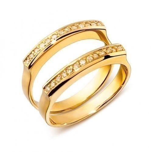 Par De Aliança E Aparador Em Ouro 18k E Diamantes Cwb Joias Modelo  JC00726 d460af9092