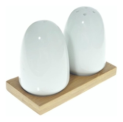 Set x 2 salero pimentero ceramica oval base bamboo
