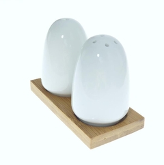 Set x 2 salero pimentero ceramica oval base bamboo en internet