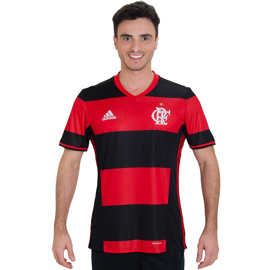 Camisa Flamengo Adidas Rubro Negra Jogo 1 2016 2017 Modelo Jogador 28d6bb3af8838