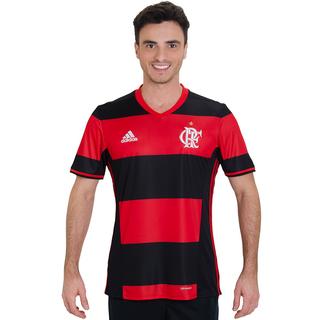 6daef163039c0 Camisa Flamengo Adidas Rubro Negra Jogo 1 2016 2017 Modelo Jogador