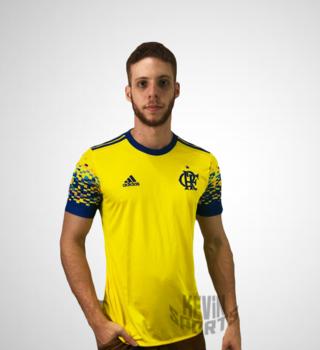 Camisa Flamengo III 17 18 s nº Torcedor Adidas Masculina - Amarelo e Azul 81890616bf2a0