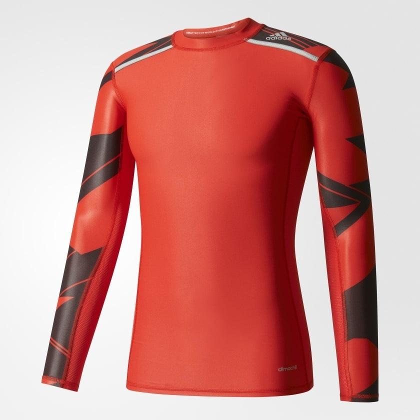 7289e1acf3fa4 Camisa Compressão Adidas Manga Longa Techfit Vermelha