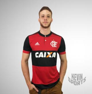 Camisa do Flamengo Rubro Negra 2017-2018 - Com Patrocínio a0cce547d8d