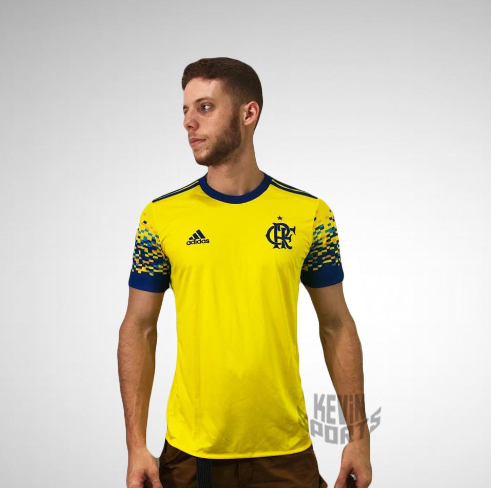 5a72c3faf09 Camisa Flamengo III 17 18 s nº Torcedor Adidas Masculina - Amarelo e Azul