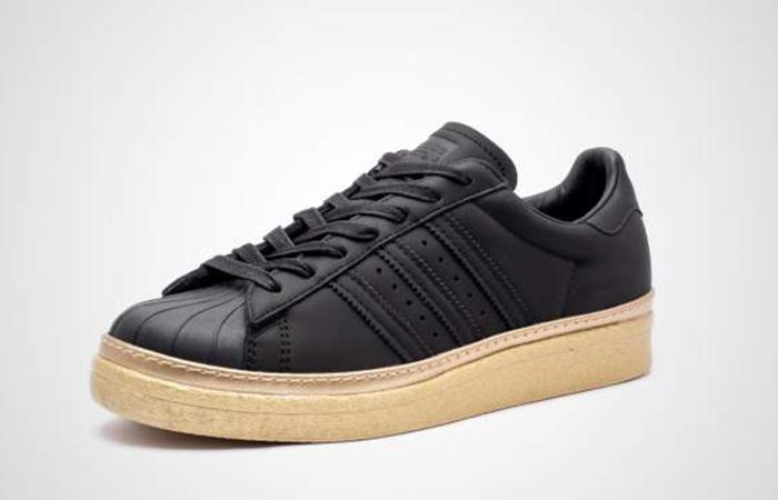 Tênis Feminino Adidas Superstar 80s New Bold W Preto e Dourado Couro B28041