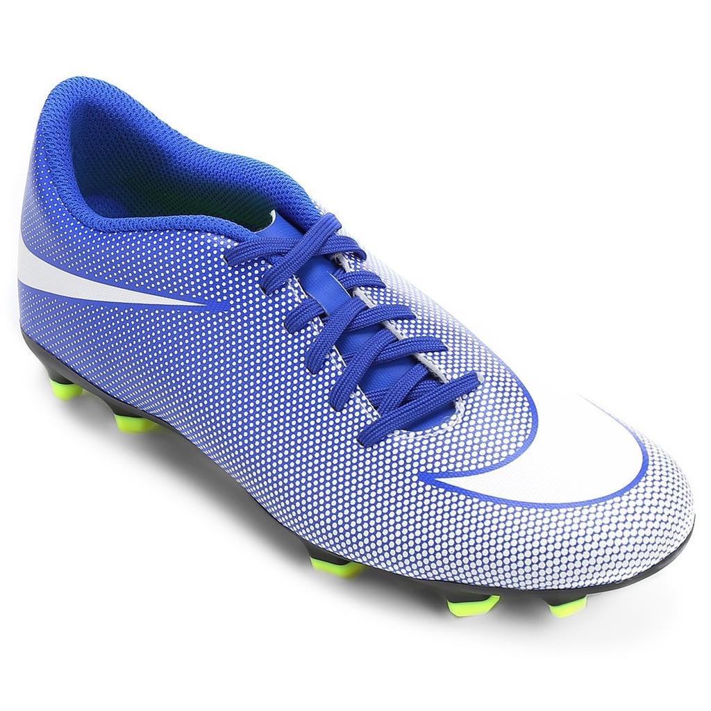 ed510d6af2fa1 Chuteira Campo Nike Bravata II FG Azul   Branco