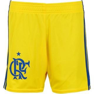 Short Infantil Flamengo Adidas III 2017   2018 Amarelo 2e5af16444f