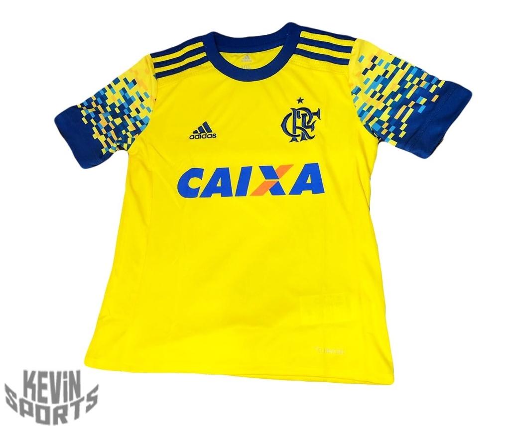 b94f2bab13bb45 Camisa Infantil Flamengo Adidas III 2017 Amarela