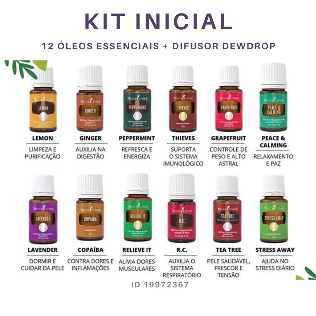 Kit Inicial Young Living 12 Oleos Essenciais 1 Difusor Dewdrop