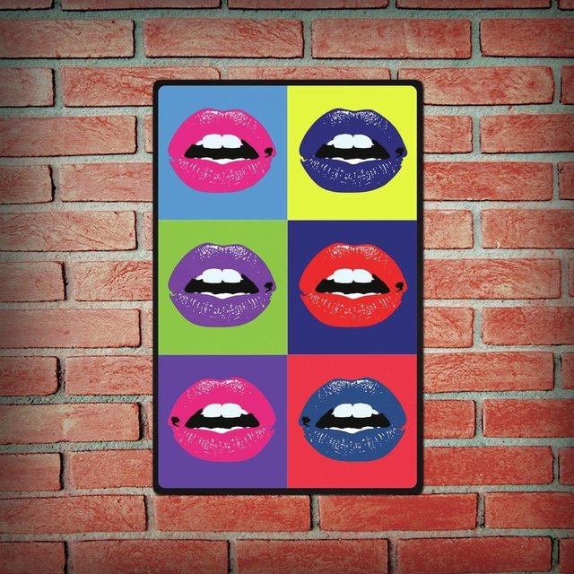 Placa Decorativa - Bocas Pop Art - comprar online