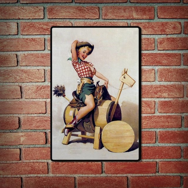 Placa Decorativa - Pin Up Caballo de madera - comprar online