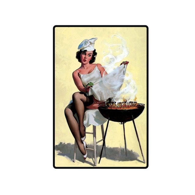 Placa Decorativa - Pin Up Parrilla