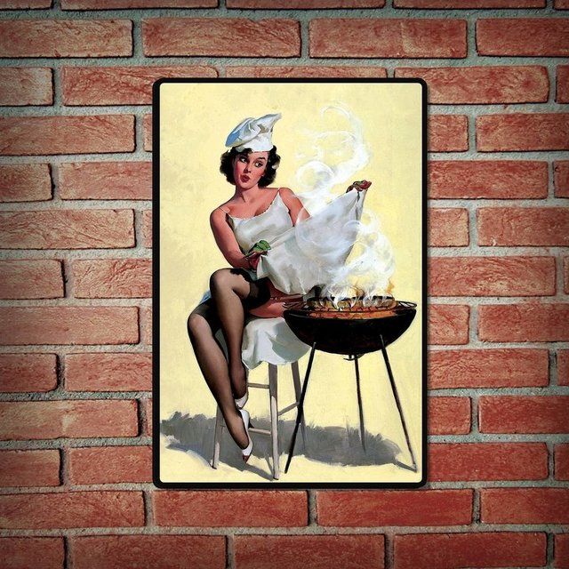 Placa Decorativa - Pin Up Parrilla - comprar online