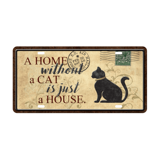 Placa Decorativa Patente de Auto - A Home Cat