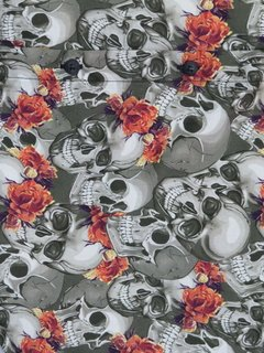 Camisa skull orange flowers - comprar online