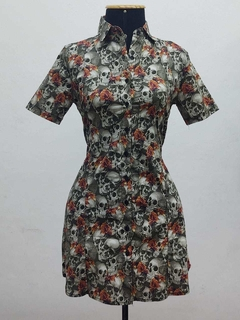 Vestido Skull Orange Flowers - VTC24