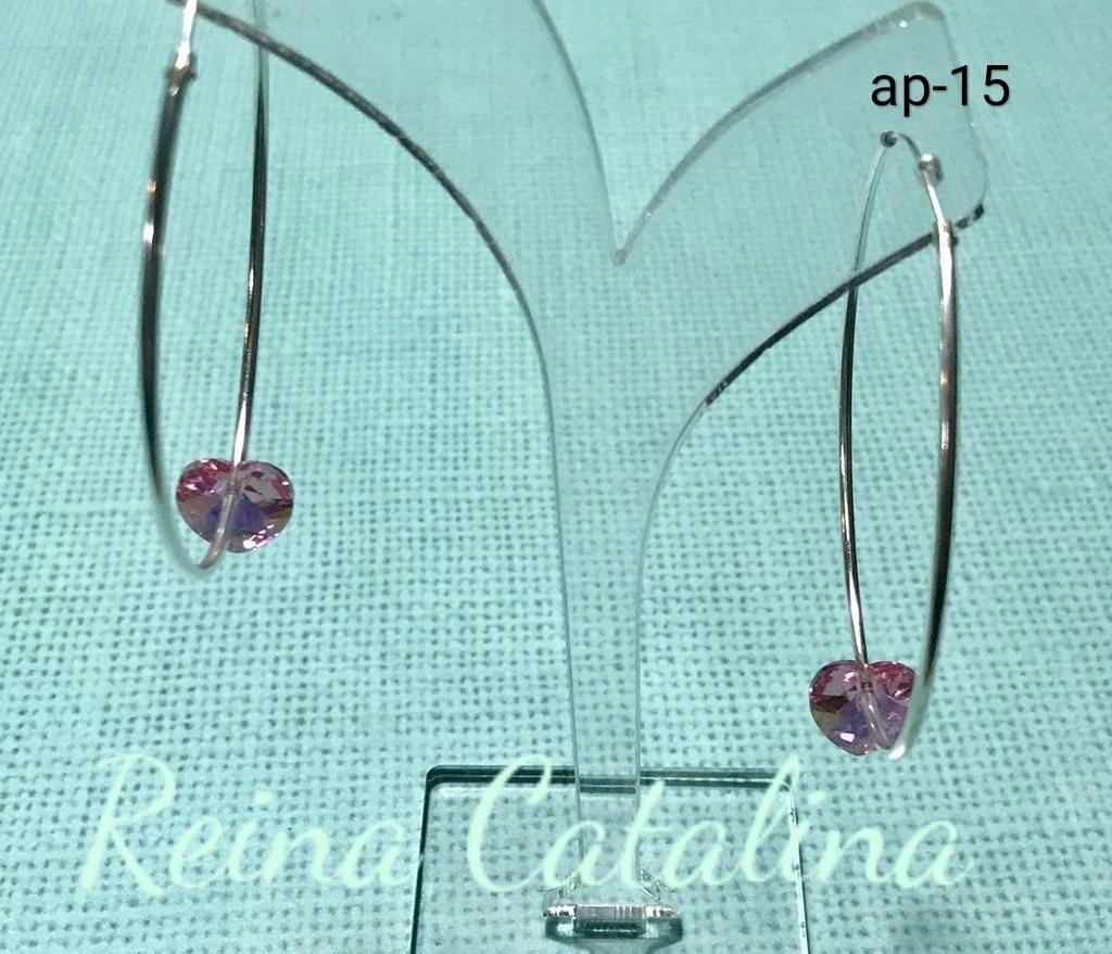 33e04a18e3cf Aro de plata 925 cubano con corazón de cristal rosa. Diámetro externo de  argolla  50mm. Espesor argolla  1
