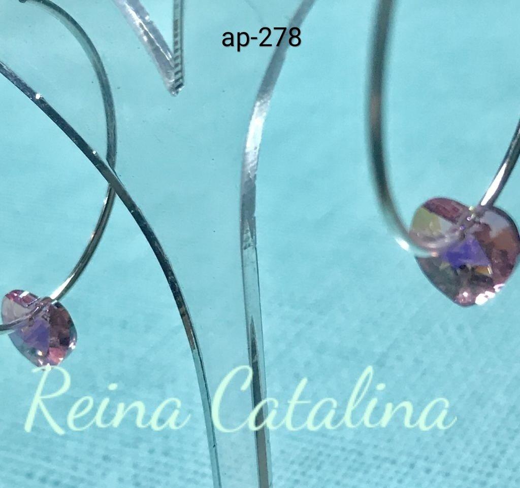 717f08099dd3 Aro de plata 925 cubano con corazón de cristal rosa. Diámetro externo de  argolla  36mm. Espesor argolla  1