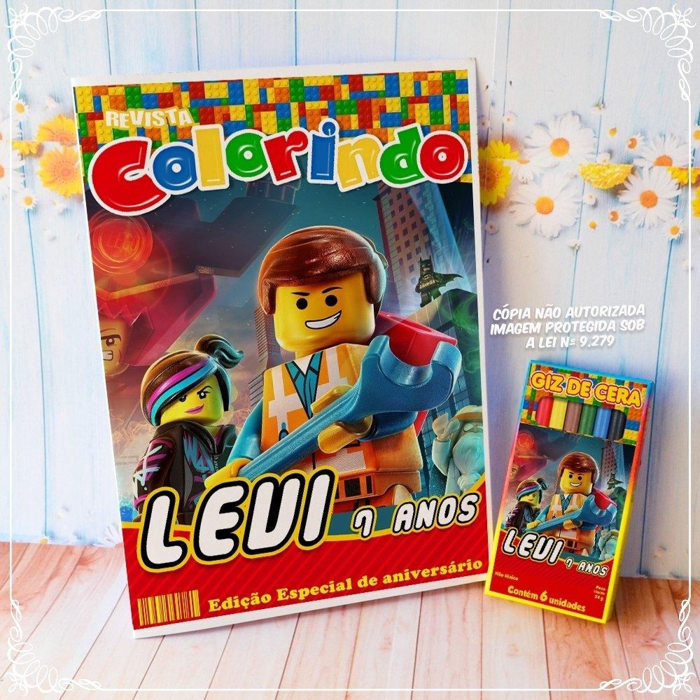 Kit Colorir Lego Personalizado Revista E Giz