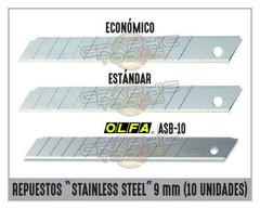 "REPUESTOS ""STAINLESS STEEL"" 9MM (PACK 10 UNIDADES)"